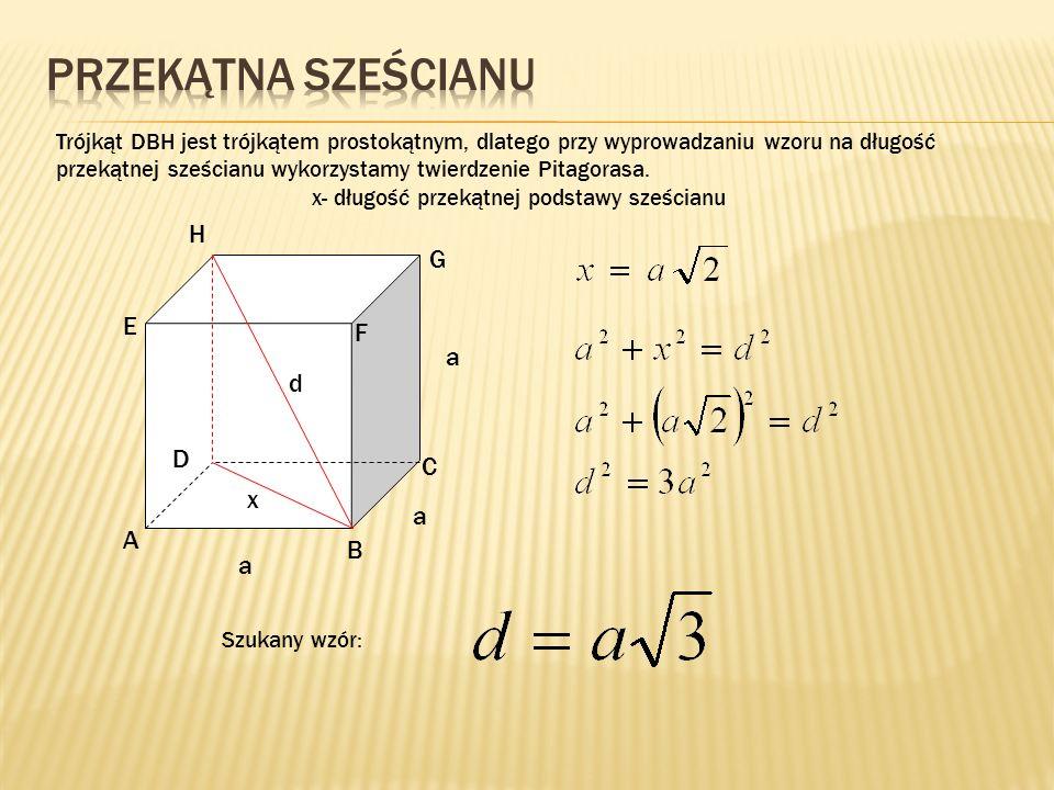 x- długość przekątnej podstawy sześcianu