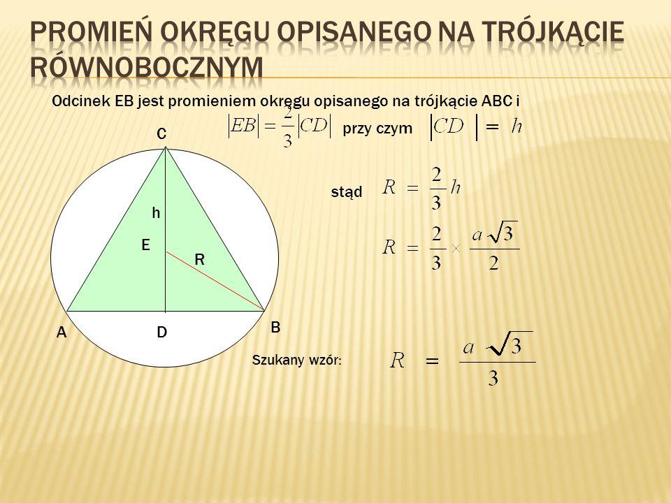 Promień okręgu opisanego na trójkącie równobocznym