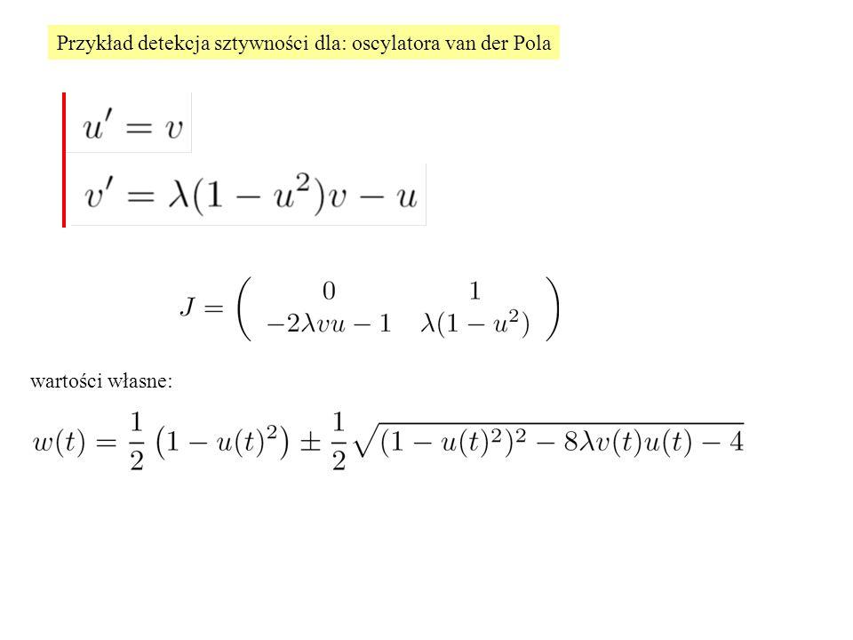 Przykład detekcja sztywności dla: oscylatora van der Pola