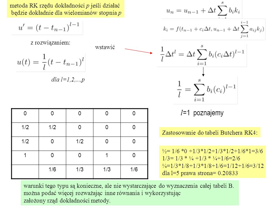 l=1 poznajemy metoda RK rzędu dokładności p jeśli działać