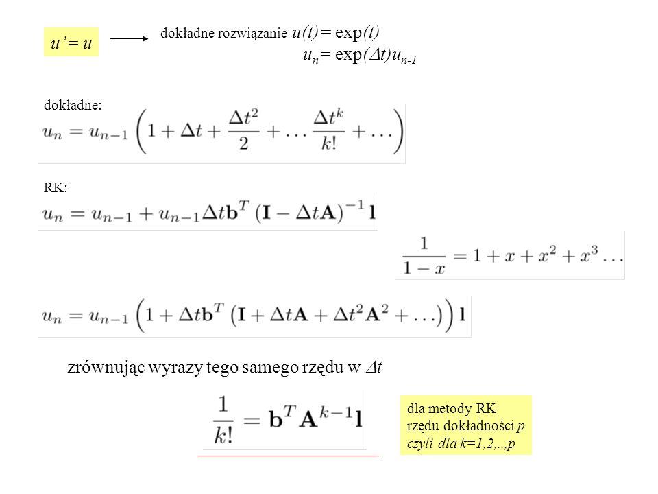 zrównując wyrazy tego samego rzędu w Dt