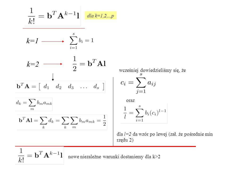 k=1 k=2 dla k=1,2,..,p wcześniej dowiedzieliśmy się, że oraz