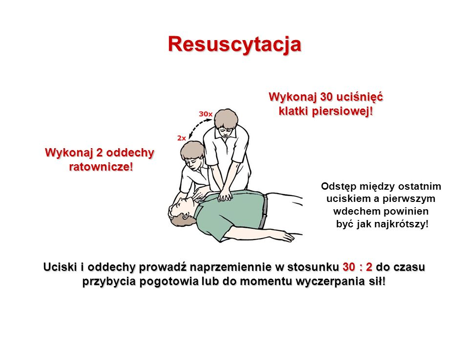 Resuscytacja Wykonaj 30 uciśnięć klatki piersiowej! Wykonaj 2 oddechy