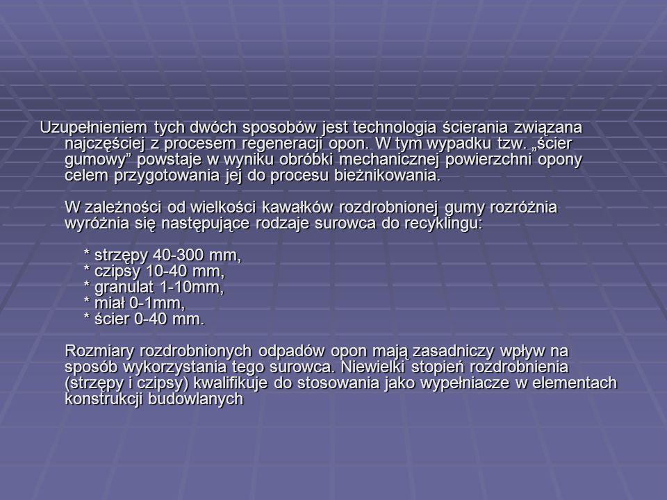 Uzupełnieniem tych dwóch sposobów jest technologia ścierania związana najczęściej z procesem regeneracji opon.