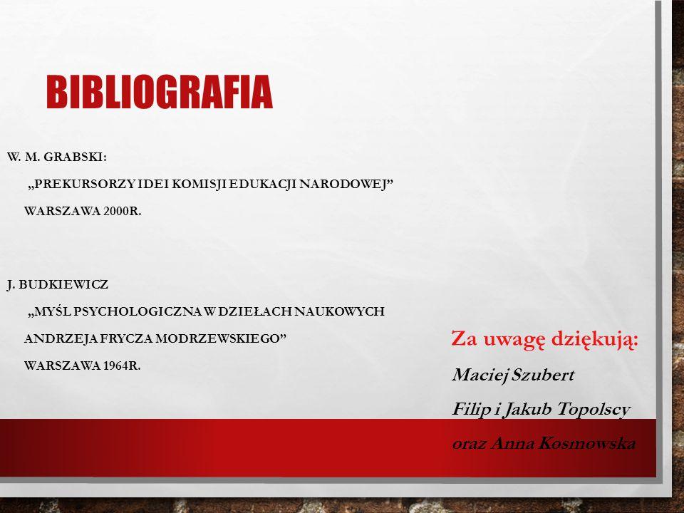 Bibliografia Za uwagę dziękują: Maciej Szubert Filip i Jakub Topolscy