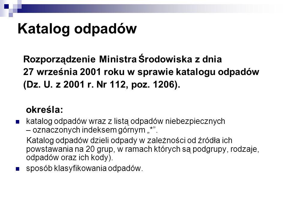 Katalog odpadów Rozporządzenie Ministra Środowiska z dnia