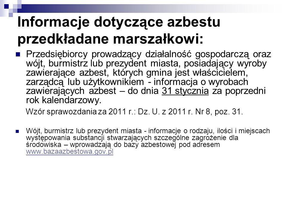 Informacje dotyczące azbestu przedkładane marszałkowi: