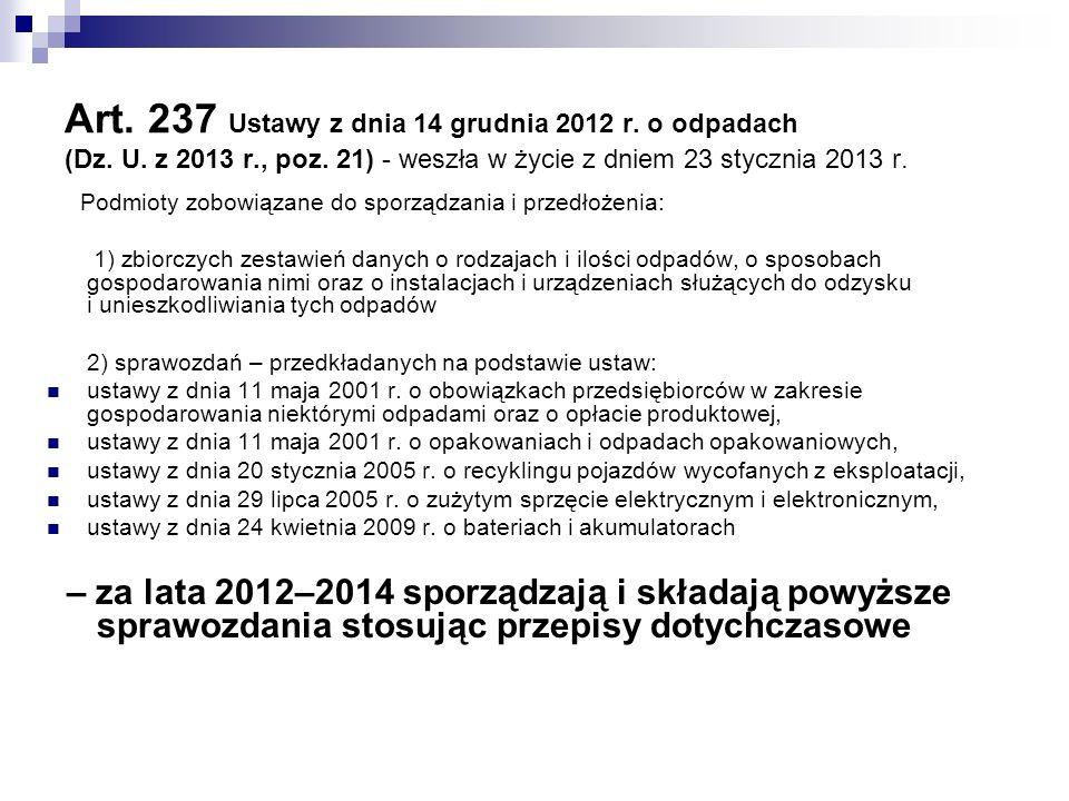 Art. 237 Ustawy z dnia 14 grudnia 2012 r. o odpadach (Dz. U. z 2013 r