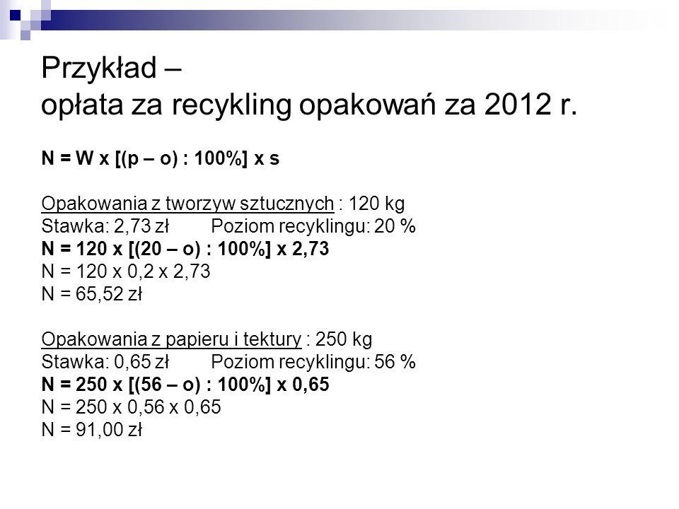 Przykład – opłata za recykling opakowań za 2012 r.