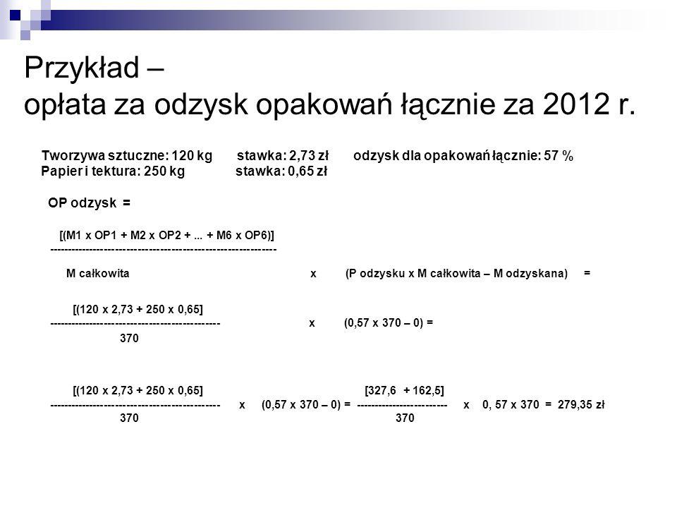 Przykład – opłata za odzysk opakowań łącznie za 2012 r.