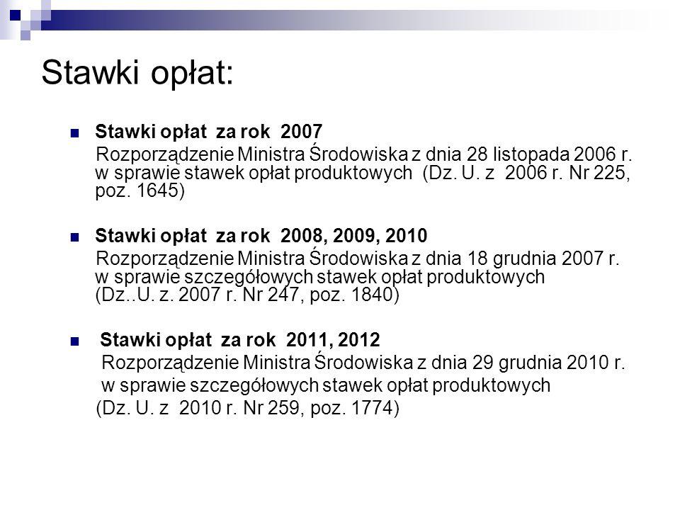 Stawki opłat: Stawki opłat za rok 2007