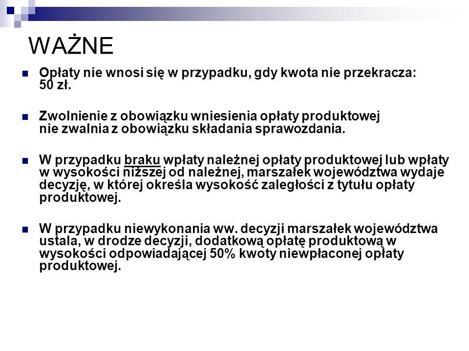 WAŻNE Opłaty nie wnosi się w przypadku, gdy kwota nie przekracza: 50 zł.