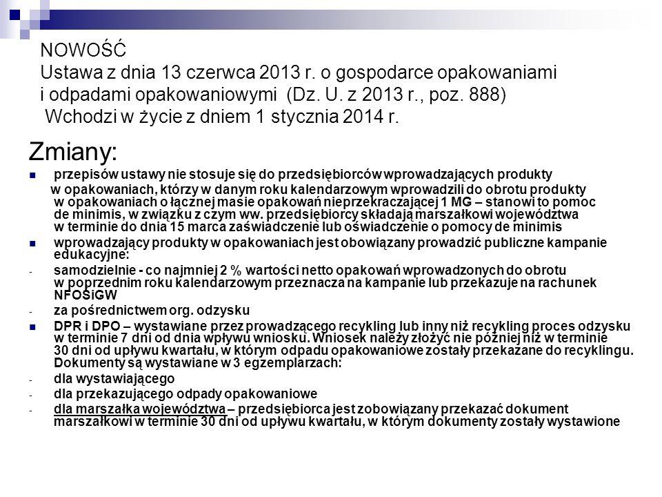 NOWOŚĆ Ustawa z dnia 13 czerwca 2013 r