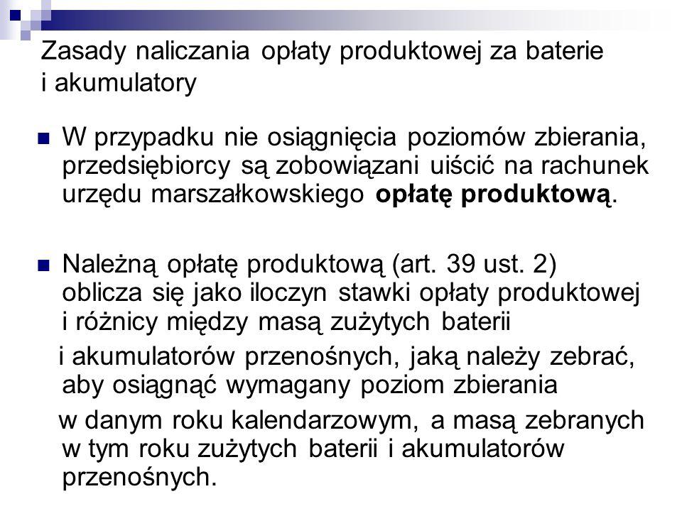 Zasady naliczania opłaty produktowej za baterie i akumulatory