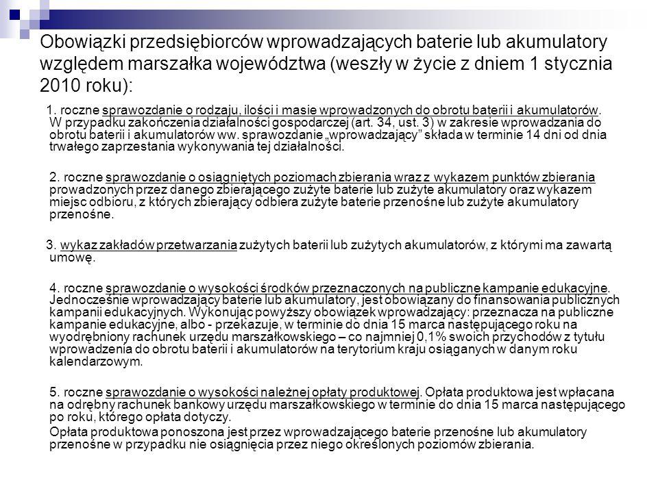 Obowiązki przedsiębiorców wprowadzających baterie lub akumulatory względem marszałka województwa (weszły w życie z dniem 1 stycznia 2010 roku):