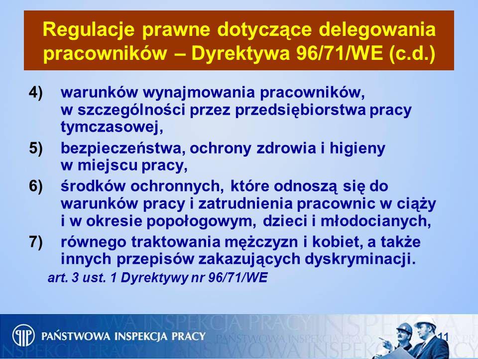 Regulacje prawne dotyczące delegowania pracowników – Dyrektywa 96/71/WE (c.d.)