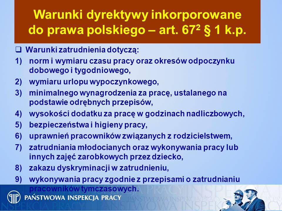 Warunki dyrektywy inkorporowane do prawa polskiego – art. 672 § 1 k.p.