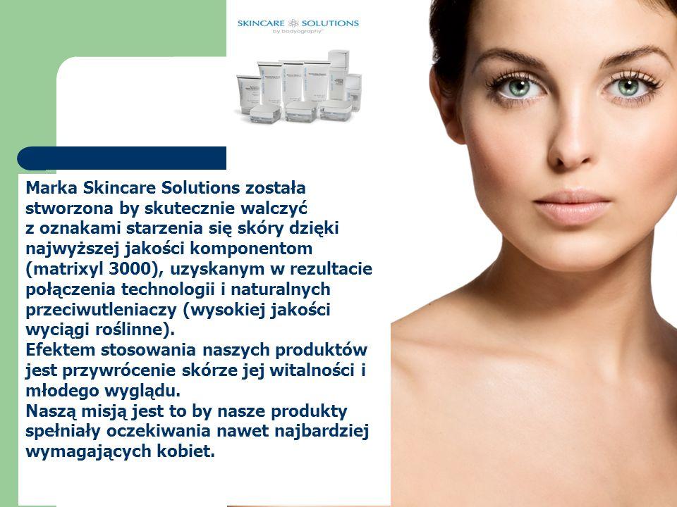 Marka Skincare Solutions została stworzona by skutecznie walczyć z oznakami starzenia się skóry dzięki najwyższej jakości komponentom (matrixyl 3000), uzyskanym w rezultacie połączenia technologii i naturalnych przeciwutleniaczy (wysokiej jakości wyciągi roślinne).