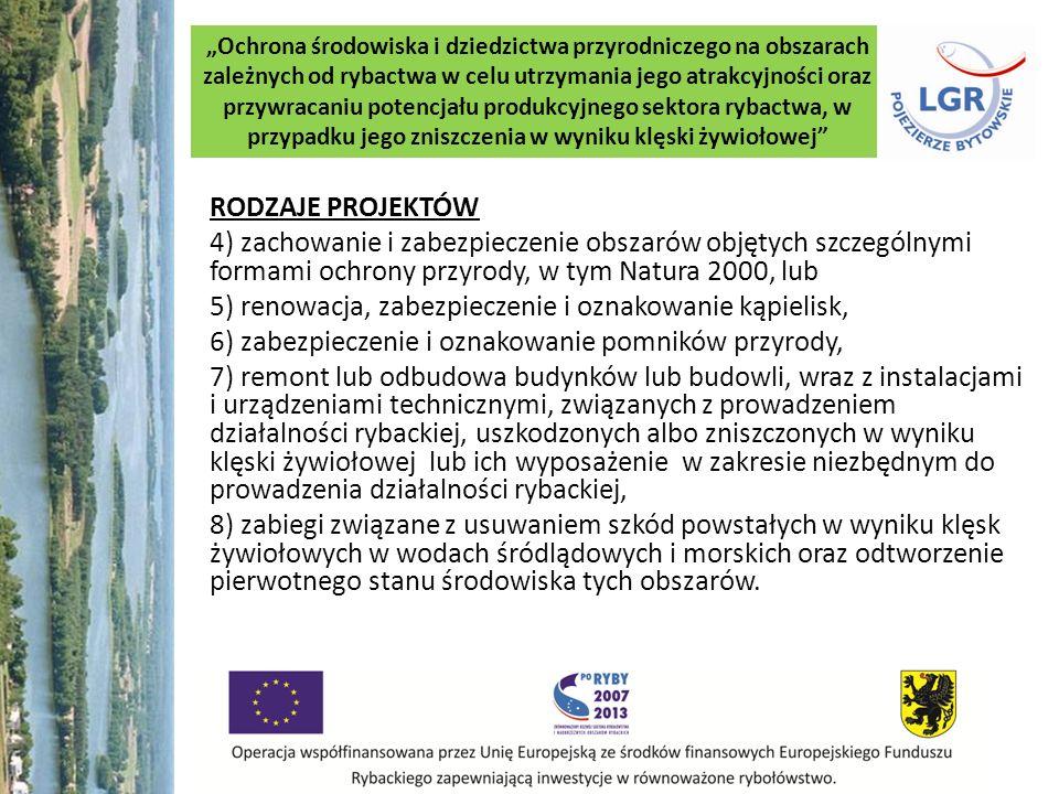 5) renowacja, zabezpieczenie i oznakowanie kąpielisk,