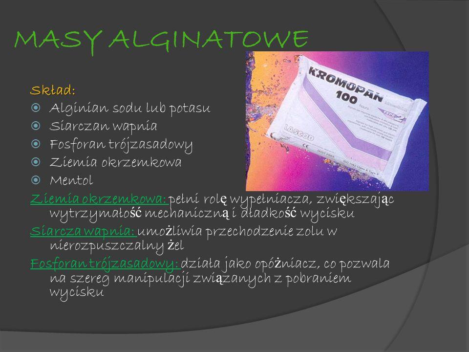 MASY ALGINATOWE Skład: Alginian sodu lub potasu Siarczan wapnia