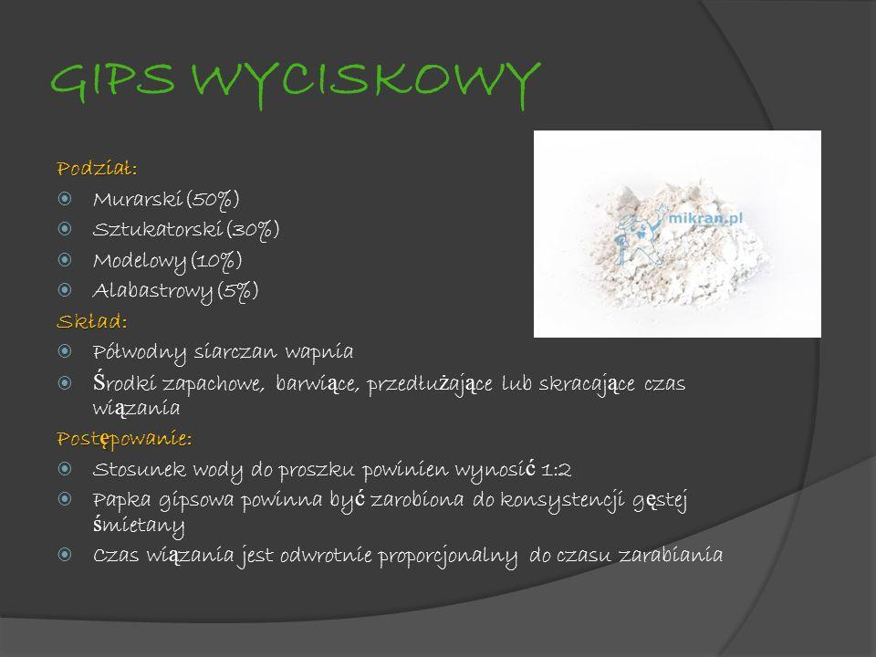 GIPS WYCISKOWY Podział: Murarski(50%) Sztukatorski(30%) Modelowy(10%)
