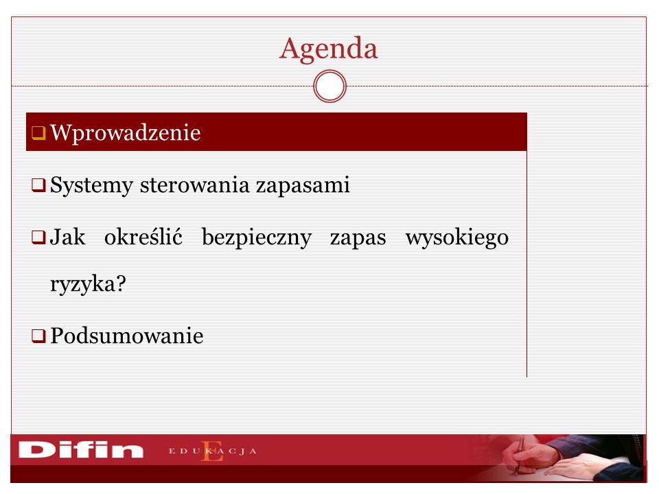 Agenda Wprowadzenie Systemy sterowania zapasami