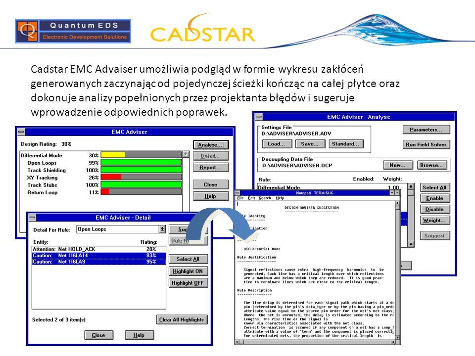 Cadstar EMC Advaiser umożliwia podgląd w formie wykresu zakłóceń generowanych zaczynając od pojedynczej ścieżki kończąc na całej płytce oraz dokonuje analizy popełnionych przez projektanta błędów i sugeruje wprowadzenie odpowiednich poprawek.