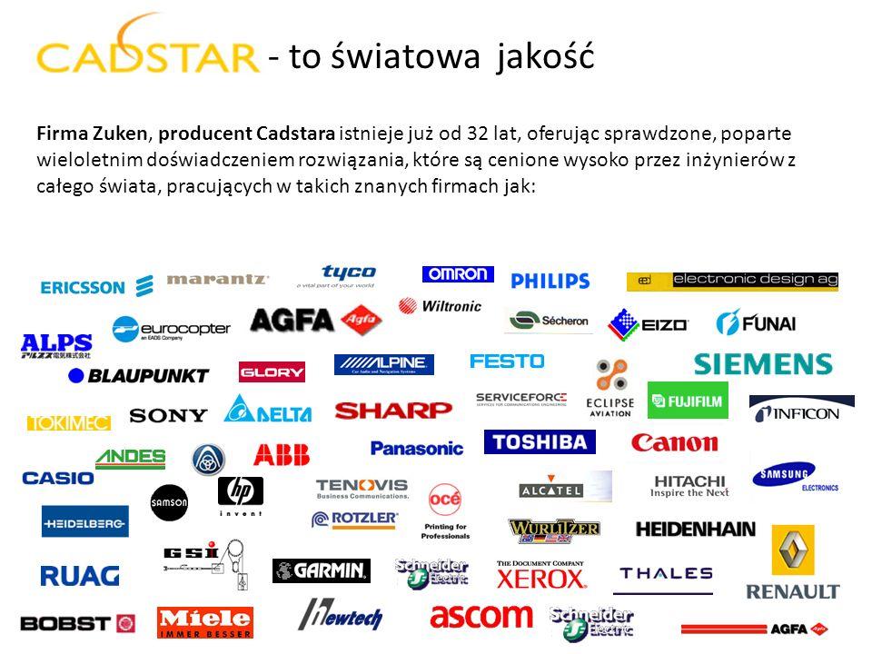 - to światowa jakość Firma Zuken, producent Cadstara istnieje już od 32 lat, oferując sprawdzone, poparte.