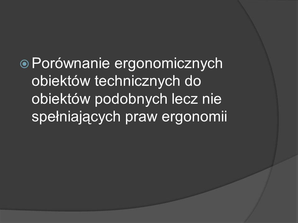 Porównanie ergonomicznych obiektów technicznych do obiektów podobnych lecz nie spełniających praw ergonomii
