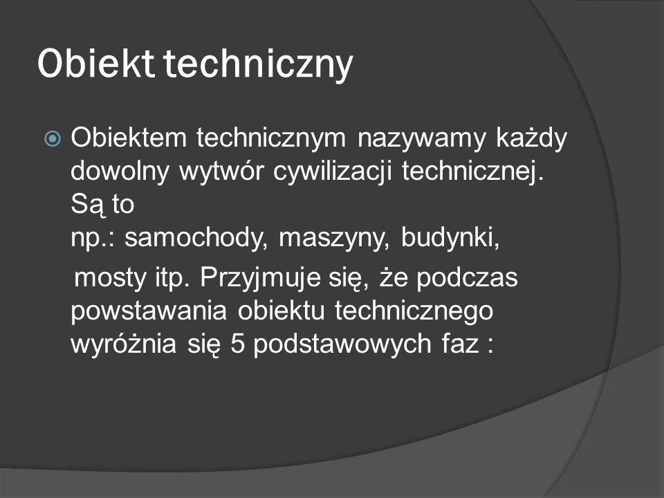 Obiekt techniczny Obiektem technicznym nazywamy każdy dowolny wytwór cywilizacji technicznej. Są to np.: samochody, maszyny, budynki,