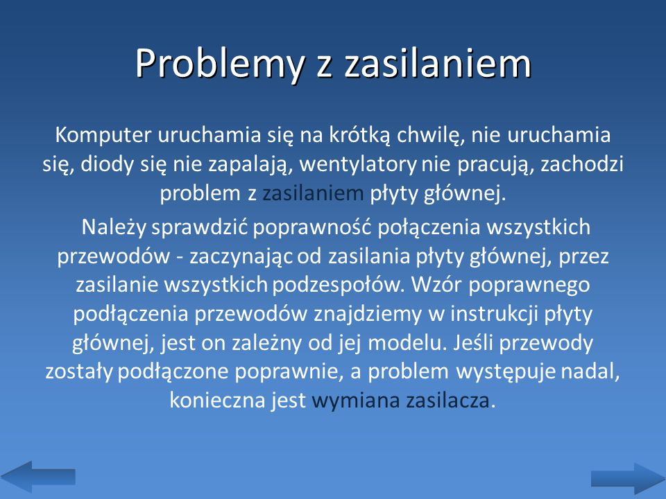 Problemy z zasilaniem
