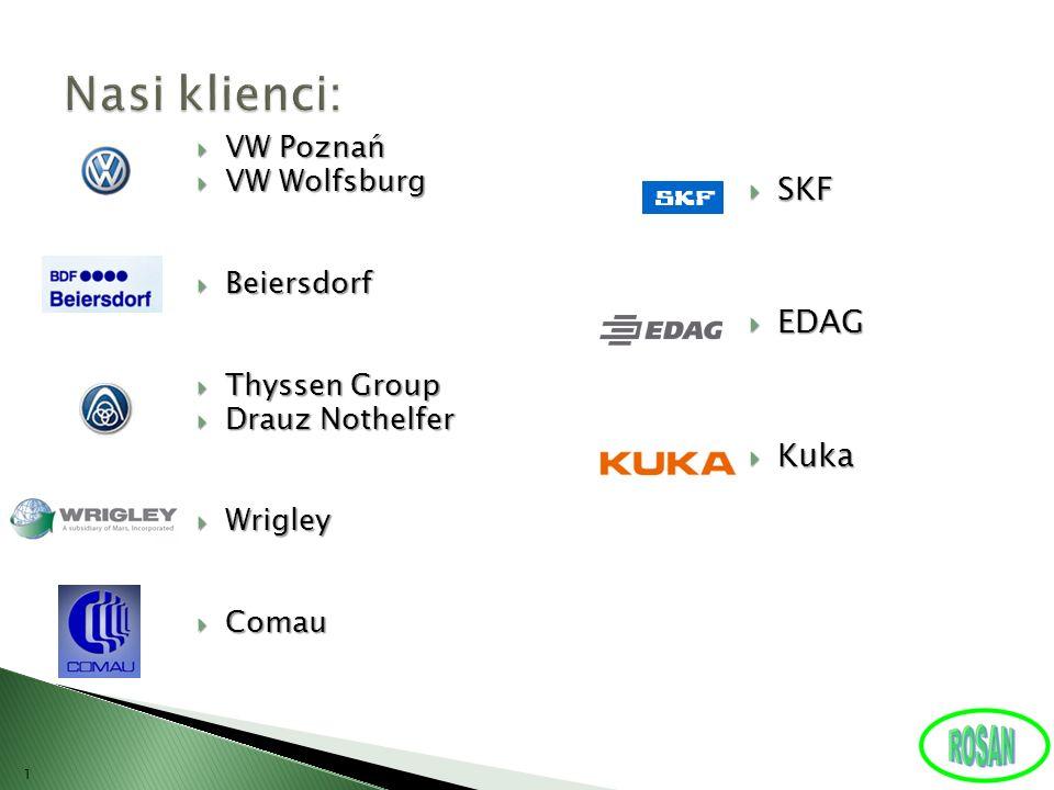 Nasi klienci: SKF EDAG Kuka VW Poznań VW Wolfsburg Beiersdorf