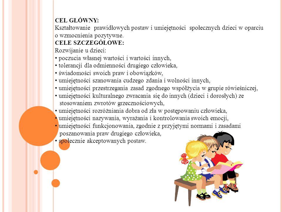 CEL GŁÓWNY: Kształtowanie prawidłowych postaw i umiejętności społecznych dzieci w oparciu o wzmocnienia pozytywne.
