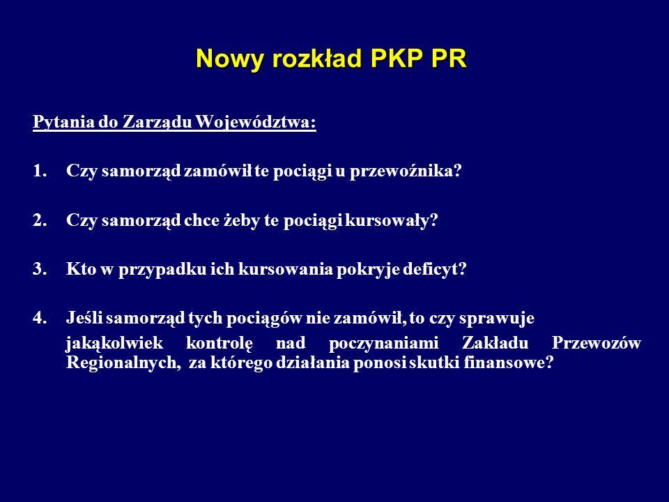 Nowy rozkład PKP PR Pytania do Zarządu Województwa:
