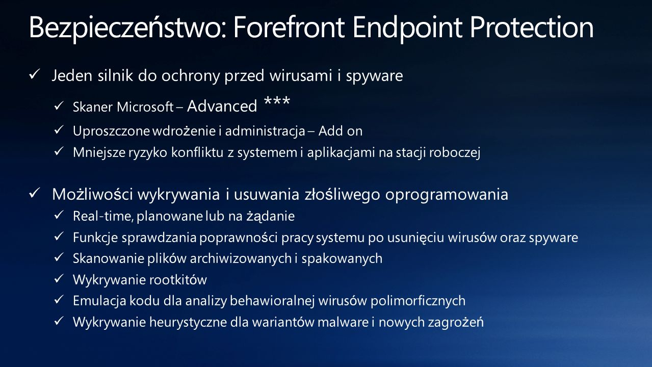 Bezpieczeństwo: Forefront Endpoint Protection
