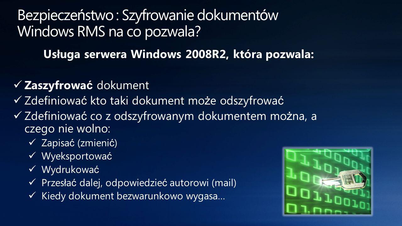 Bezpieczeństwo : Szyfrowanie dokumentów Windows RMS na co pozwala