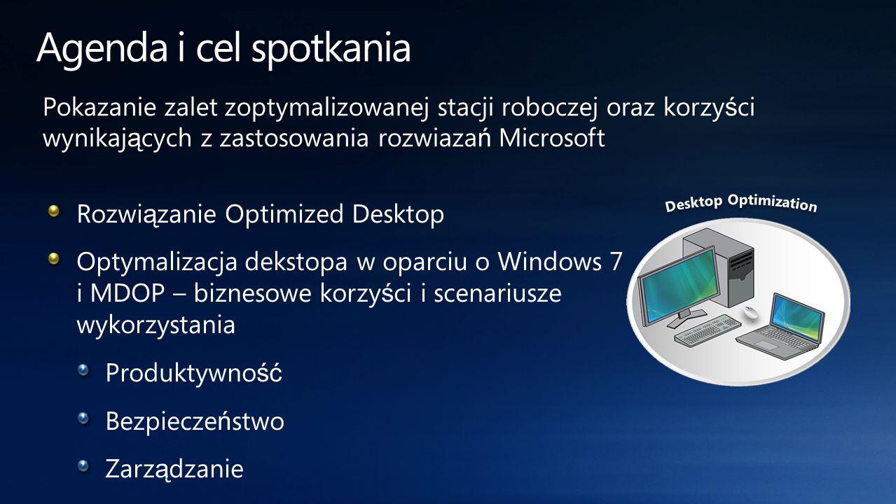 Agenda i cel spotkania Pokazanie zalet zoptymalizowanej stacji roboczej oraz korzyści wynikających z zastosowania rozwiazań Microsoft.