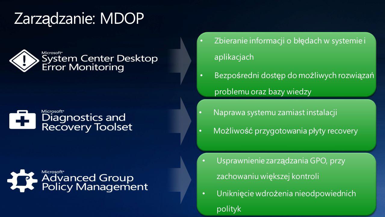 Zarządzanie: MDOP Zbieranie informacji o błędach w systemie i aplikacjach. Bezpośredni dostęp do możliwych rozwiązań problemu oraz bazy wiedzy.