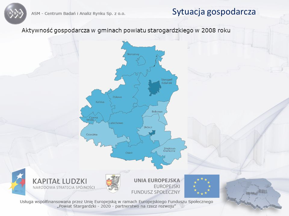 Sytuacja gospodarcza Aktywność gospodarcza w gminach powiatu starogardzkiego w 2008 roku