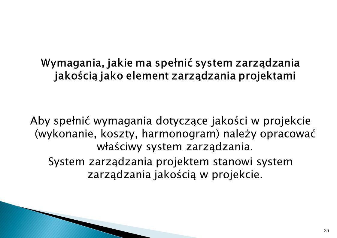 Wymagania, jakie ma spełnić system zarządzania jakością jako element zarządzania projektami Aby spełnić wymagania dotyczące jakości w projekcie (wykonanie, koszty, harmonogram) należy opracować właściwy system zarządzania.
