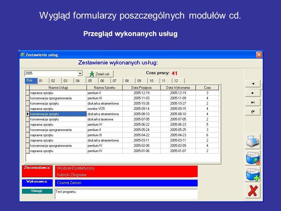 Wygląd formularzy poszczególnych modułów cd.