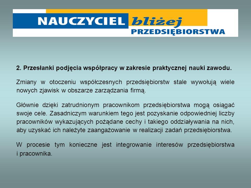 2. Przesłanki podjęcia współpracy w zakresie praktycznej nauki zawodu.