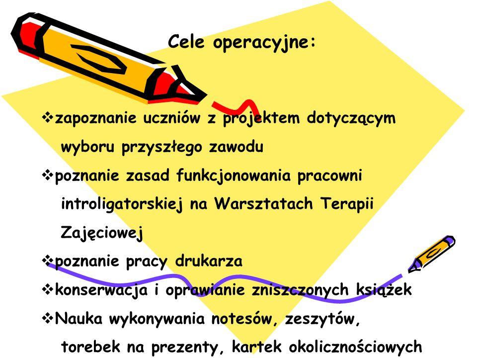 Cele operacyjne: zapoznanie uczniów z projektem dotyczącym