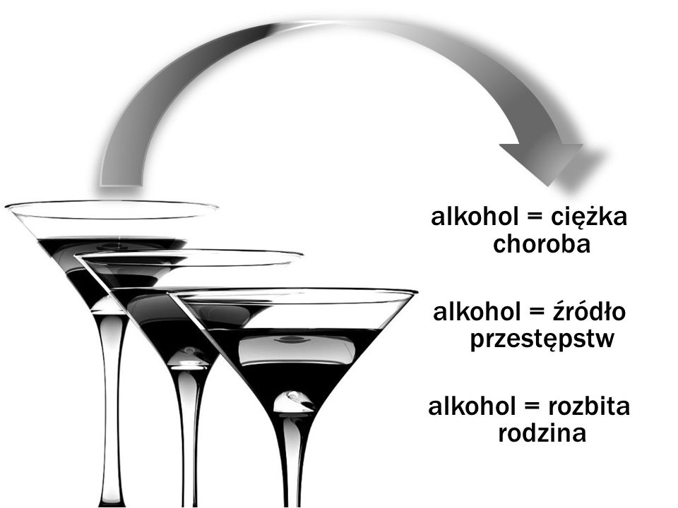 alkohol = ciężka choroba alkohol = źródło przestępstw alkohol = rozbita rodzina