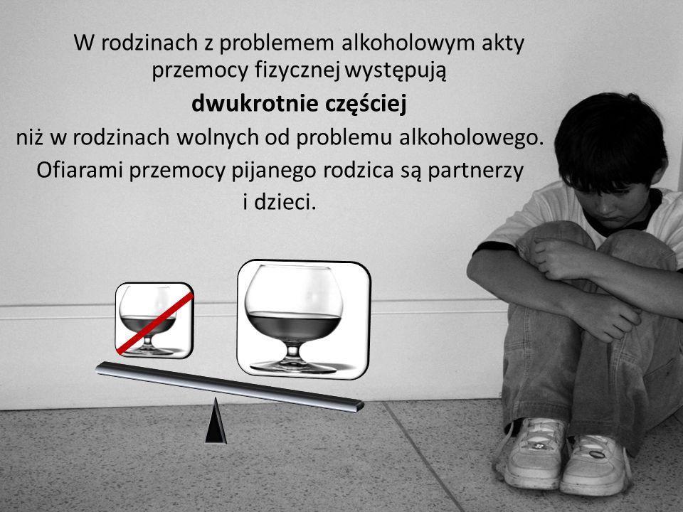 W rodzinach z problemem alkoholowym akty przemocy fizycznej występują
