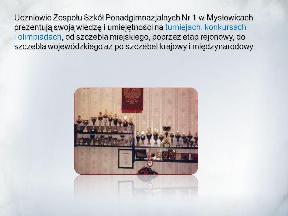 Uczniowie Zespołu Szkół Ponadgimnazjalnych Nr 1 w Mysłowicach prezentują swoją wiedzę i umiejętności na turniejach, konkursach i olimpiadach, od szczebla miejskiego, poprzez etap rejonowy, do szczebla wojewódzkiego aż po szczebel krajowy i międzynarodowy.