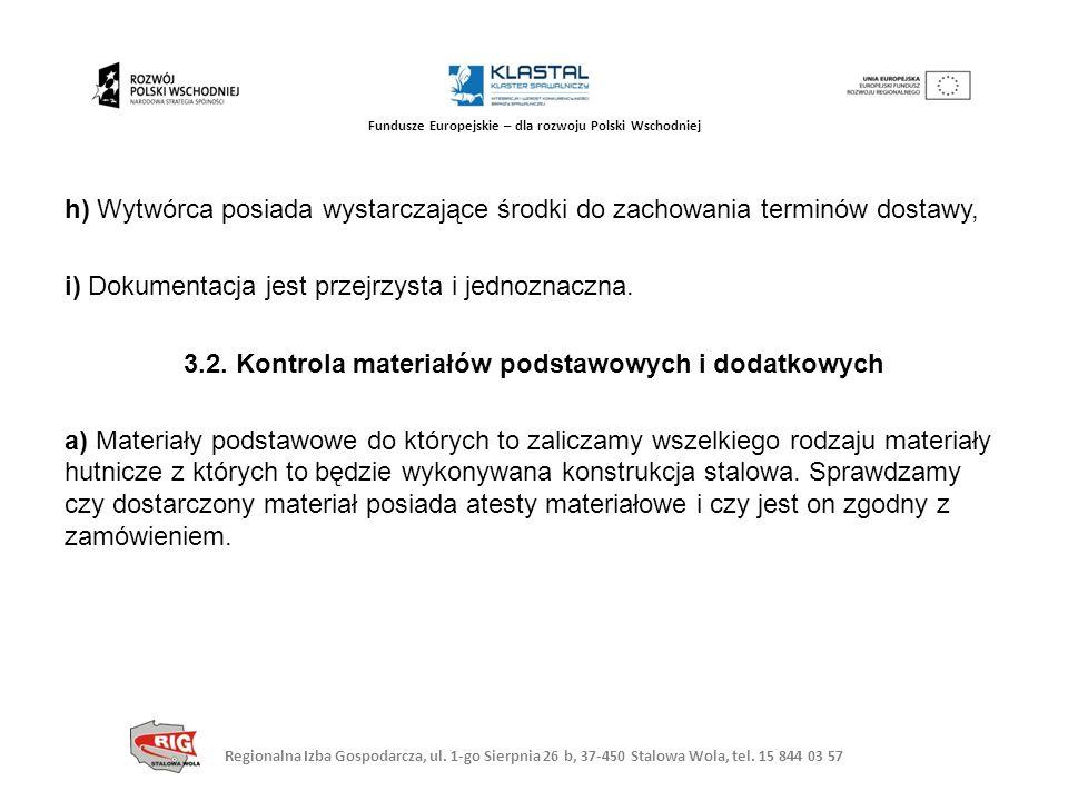 h) Wytwórca posiada wystarczające środki do zachowania terminów dostawy, i) Dokumentacja jest przejrzysta i jednoznaczna.