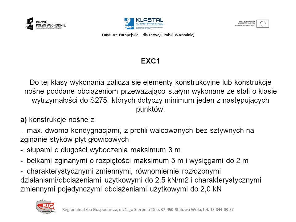 EXC1 Do tej klasy wykonania zalicza się elementy konstrukcyjne lub konstrukcje nośne poddane obciążeniom przeważająco stałym wykonane ze stali o klasie wytrzymałości do S275, których dotyczy minimum jeden z następujących punktów: a) konstrukcje nośne z - max.