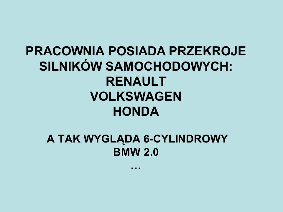 PRACOWNIA POSIADA PRZEKROJE SILNIKÓW SAMOCHODOWYCH: RENAULT VOLKSWAGEN HONDA A TAK WYGLĄDA 6-CYLINDROWY BMW 2.0 …