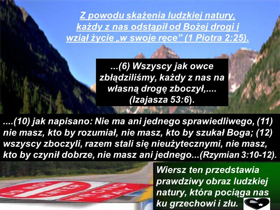 """Z powodu skażenia ludzkiej natury, każdy z nas odstąpił od Bożej drogi i wziął życie """"w swoje ręce (1 Piotra 2:25)."""